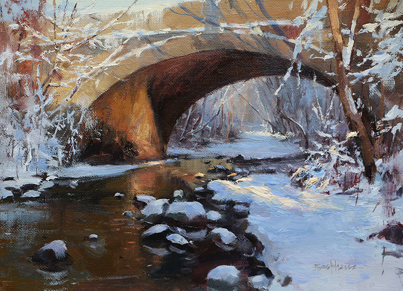 """Breaking Light on Swan Creek"" 9"" x 12"" oil"