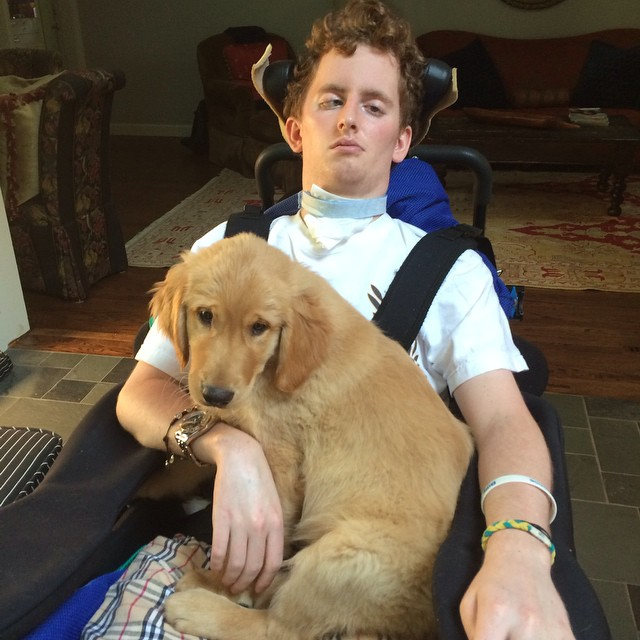 Patrick and his new pup! #goldenretriever