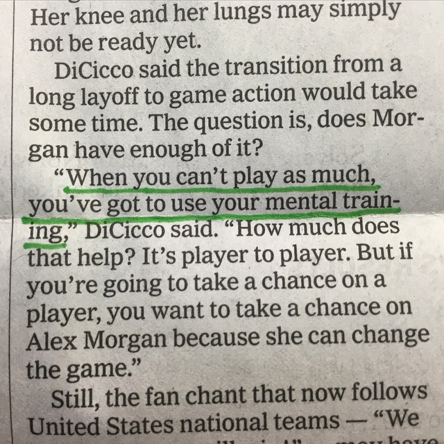 Great example of physical limitations and #mentalstrength regarding #USAsoccer player @alexmorgan13 in @sportsillustrated #mentalstrength #allinmyhead #onceanathletealwaysanathlete #patrickstein #lockedinsyndrome #athleticmentality