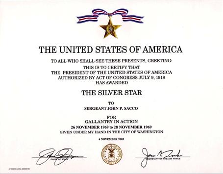 John Sacco's Silver Star certificate