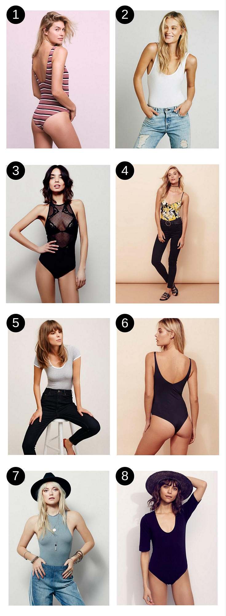 Obsessed with bodysuits right now and love these ones from Free People that she picked out. Pretty much go with anything!