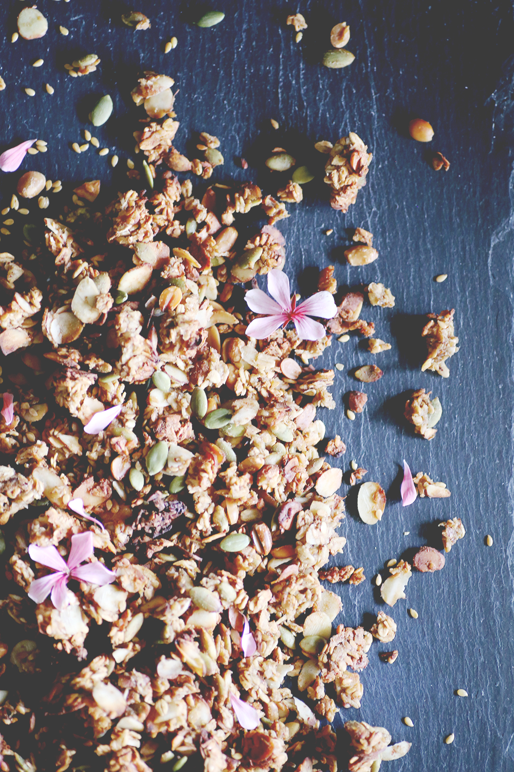 Naturally sweetened with dates, this homemade granola with almonds and pumpkin seeds is vegan, low in sugar and super satisfying. It will keep you reaching for more and more.
