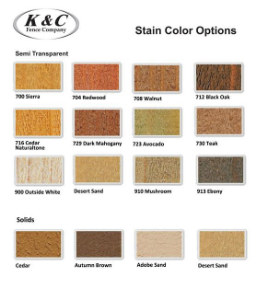 Fence Stain colors available at K & C Fence Company, Nashville TN