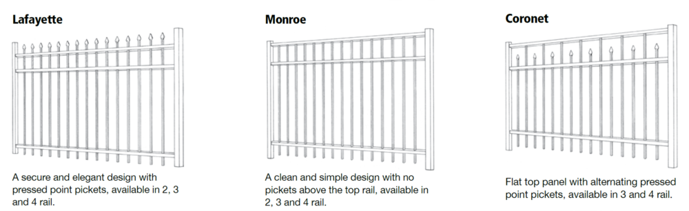 Our most In-stock Nashville Aluminum Fence styles available.                                       Other special order styles are available.