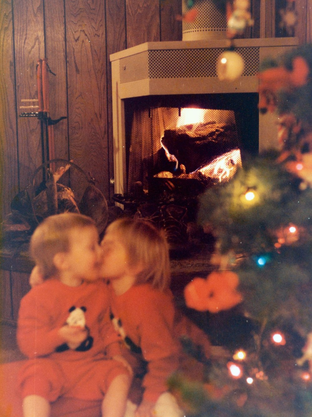 My brother Mike and I at Grandma's house for Christmas, December 25, 1985.