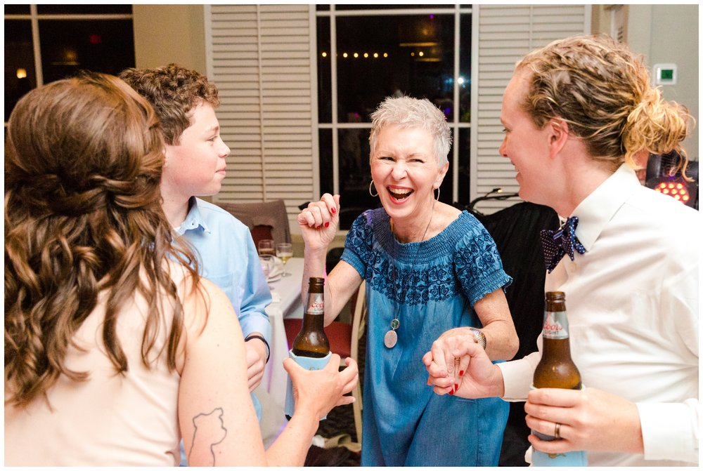 bride's aunt enjoys the dance floor