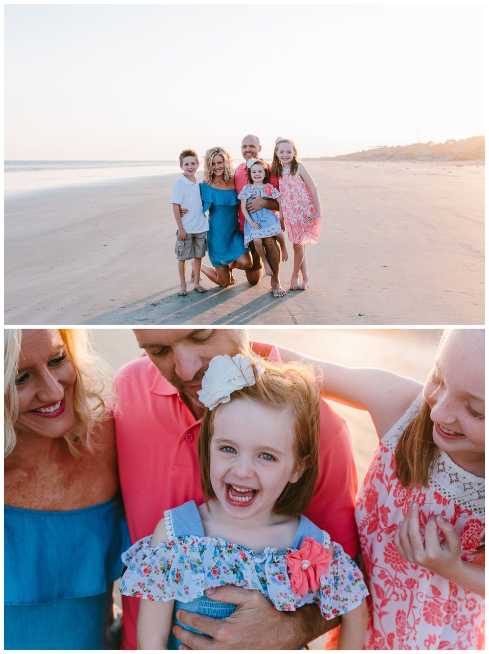 family beach portraits and sister making everyone laugh