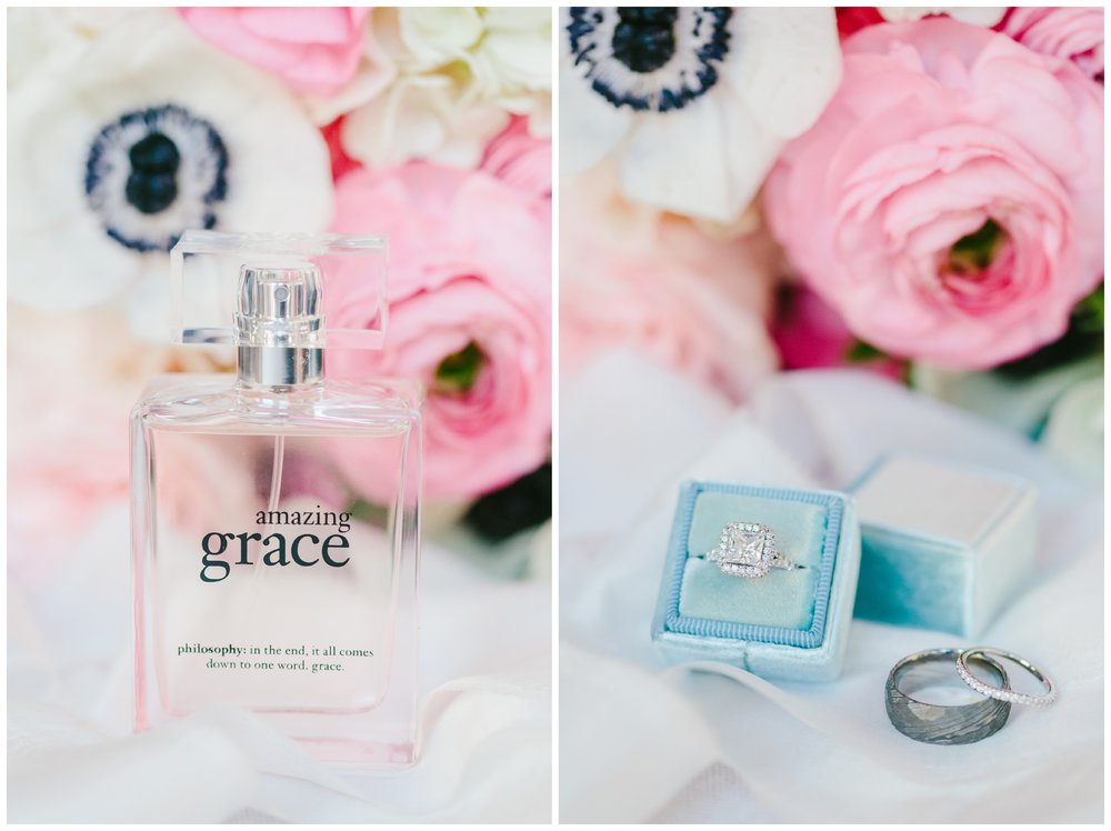 bride's perfume and wedding rings