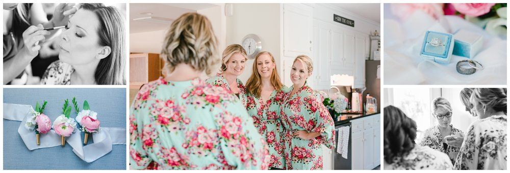 bride getting ready with her bridesmaids.  final touches of hair and make up