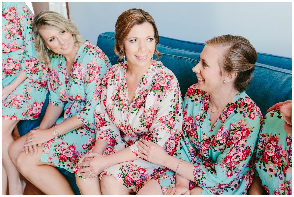 the bride gifted her bridesmaids with matching robes.