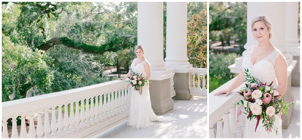 bride on the porch of the mcbee house overlooking the lawn.