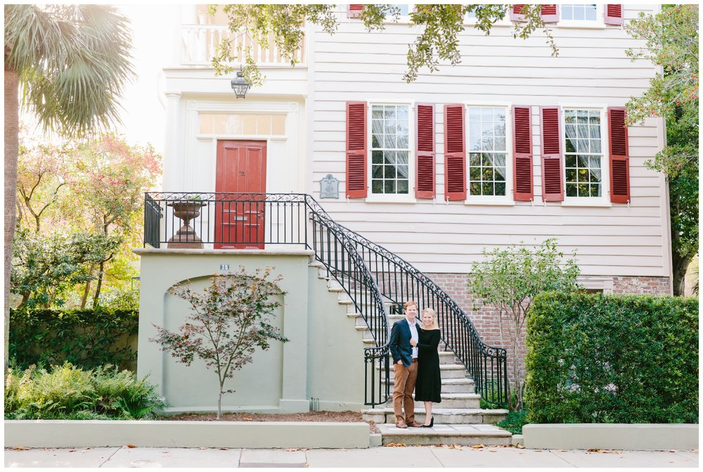 engagement picture in front of a historical home