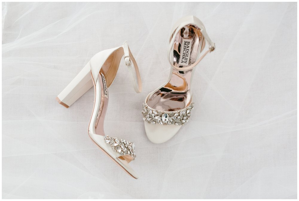 Badgley Mischka shoes the bride wore down the isle to her groom.