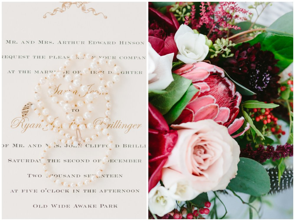 the bride wore her mother's pearls.  these pearl's were given to the mother of the bride on her wedding day by her husband.