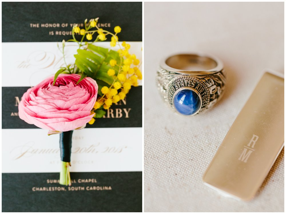 groom's air force ring and money clip styled for pictures