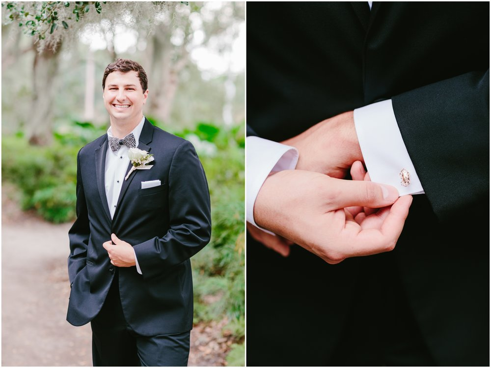 groom portrait with gold bug cufflinks from Croghan's
