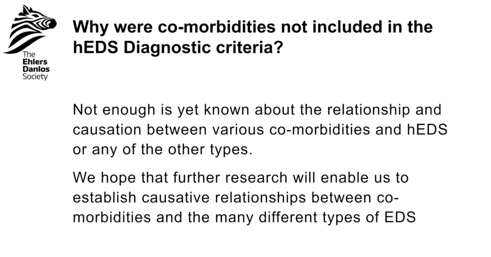 Why were co-morbidities not included in the hEDS diagnostic criteria?