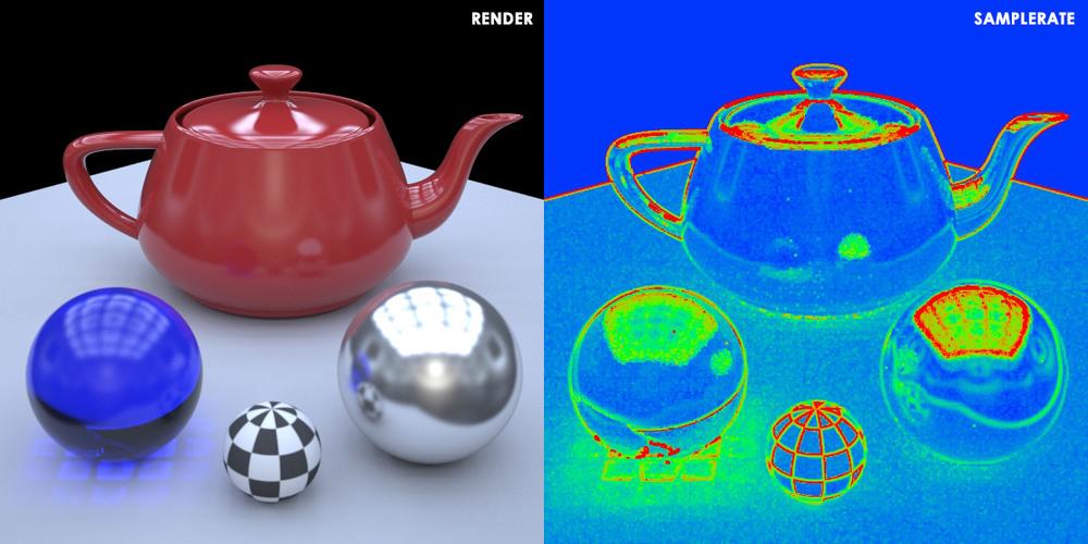 Figura 02: O SampleRate (direita), mostrando quantos dos Primary Samples disponíveis estão sendo tirados de cada pixel do render (esquerda).