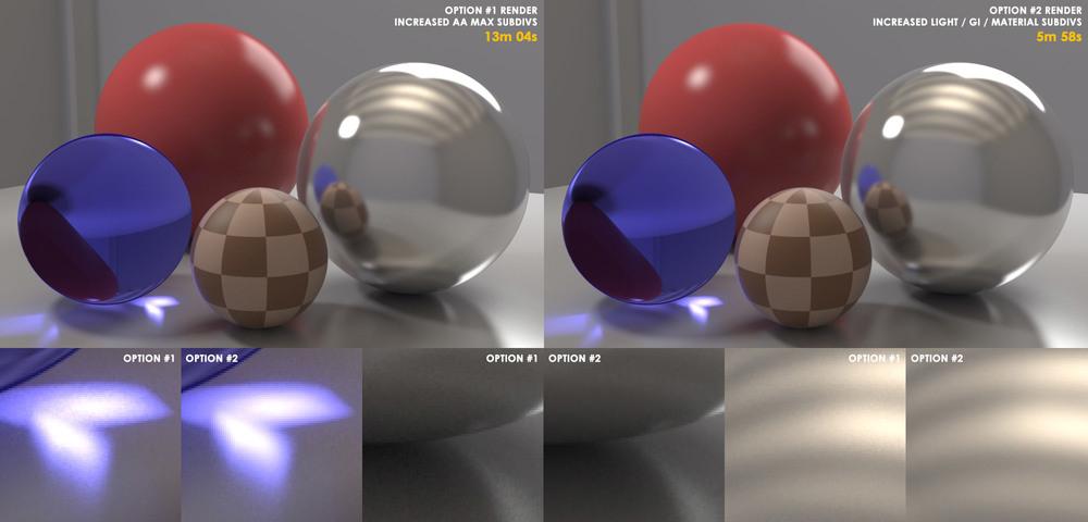 Render Opção #1 àesquerda, e Opção #2 àdireita. Embaixo, as imagens com zoom de 400% para mostrar melhor os níveis de ruído.