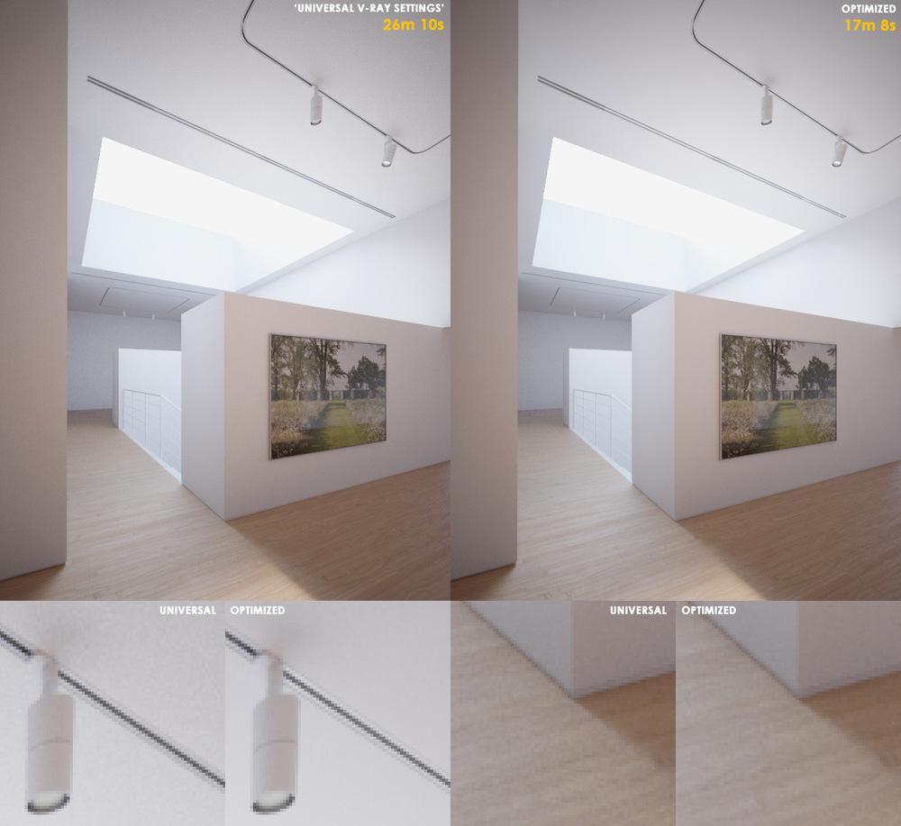 Configurações universais do V-Ray (universal V-Ray settings) à esquerda e render otimizado à direita. Imagem de Peter Guthrie