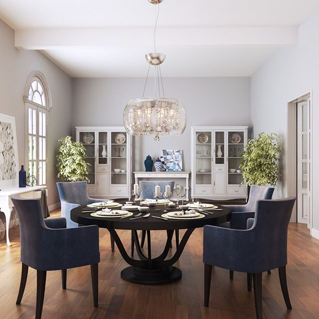 Love the wood floor contrast on this light-toned dining room!
