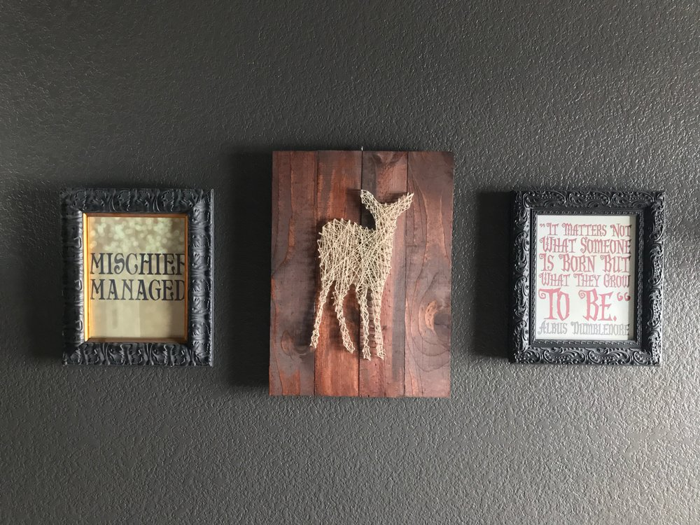 To see Evelyn's Harry Potter Inspired Toddler Room that features this Doe string art, check it out  here.