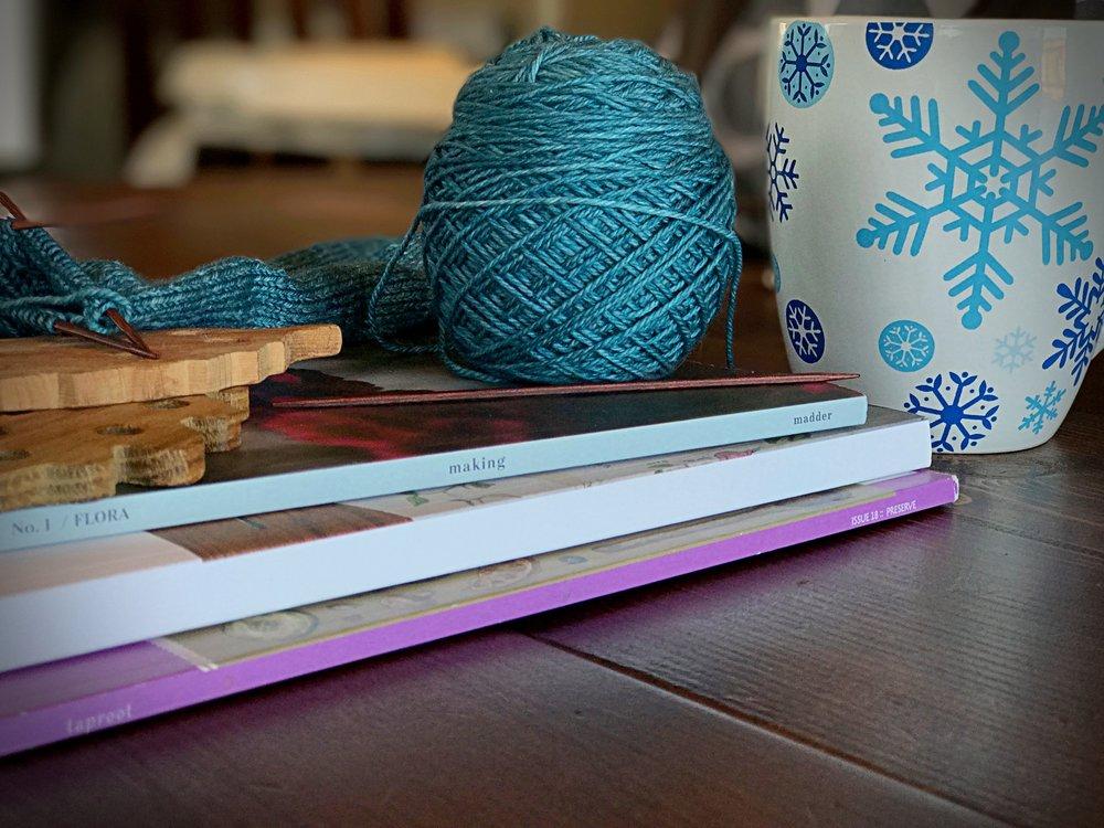 Peonies and Cream - Creative Budget Magazines Coffee Mug Blue Yarn