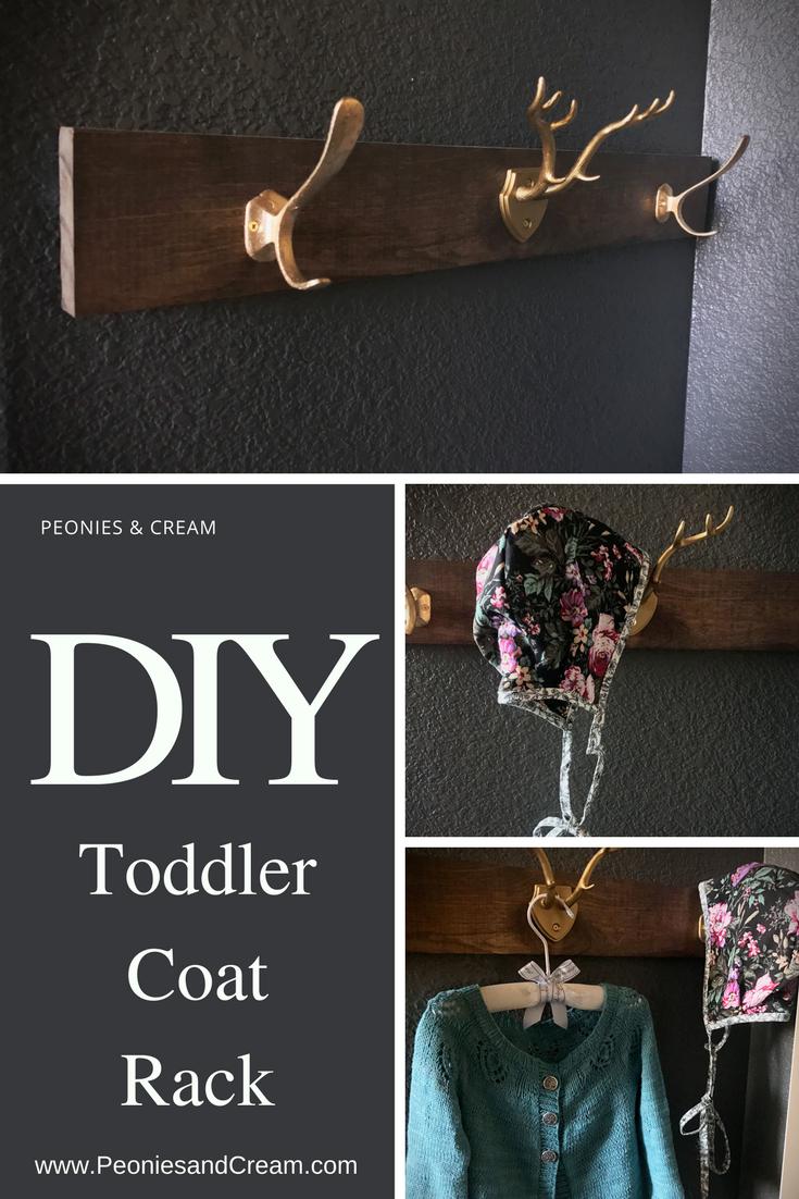 Peonies & Cream - DIY Toddler Coat Rack Pin 1