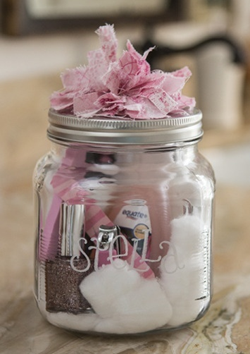 Pedicure in a Jar from Emma Courtney - Peonies and Cream - Mason Jar Gift Ideas