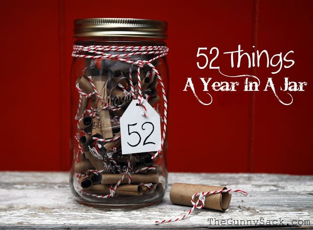 52 Things in a Jar from The Gunny Sack - Peonies and Cream - Mason Jar Gift Ideas.