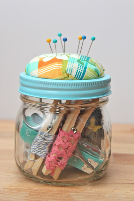 Beginner Sewing Kit in a Jar from Smashed Peas and Carrots - Peonies and Cream - Mason Jar Gift Ideas