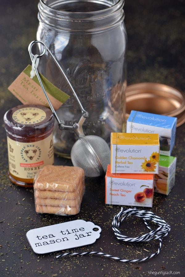 Tea Time Mason Jar Gift from The Gunny Sack - Peonies and Cream - Mason Jar Gift Ideas