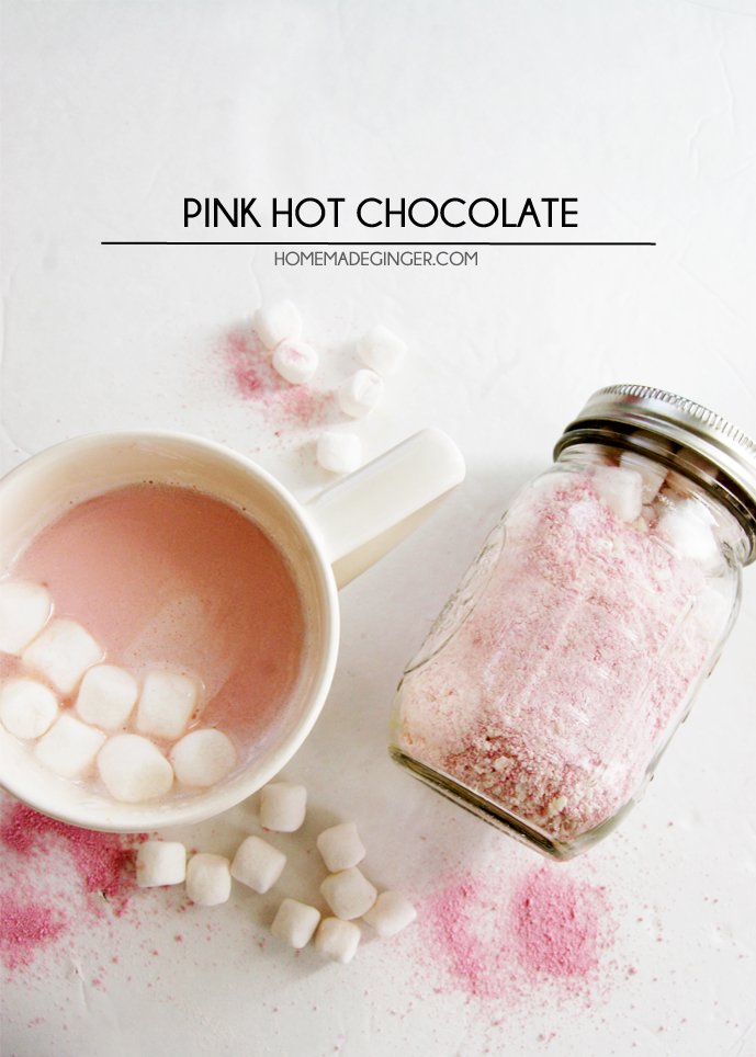 Pink Hot Chocolate from HomeMade Ginger - Peonies and Cream - Mason Jar Gift Ideas