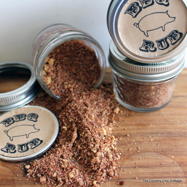 BBQ Rub from The Country Chic Cottage - Peonies and Cream - Mason Jar Gift Ideas