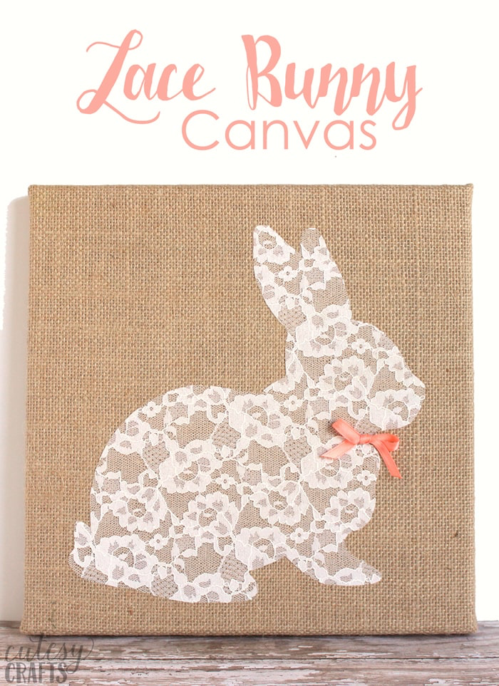 Lace Bunny Canvas by Cutesy Crafts | on Peonies and Cream