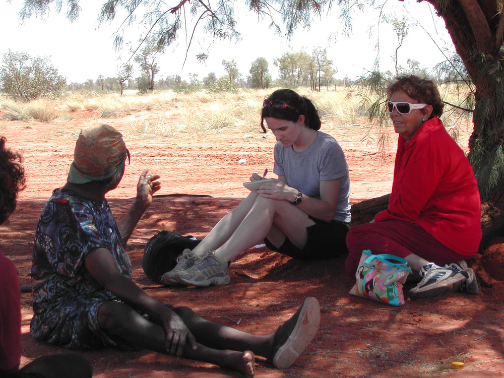 Interviewing the family of Australian aboriginal artist Barbara Weir in her mother's country, Utopia, in the Northern Territory.