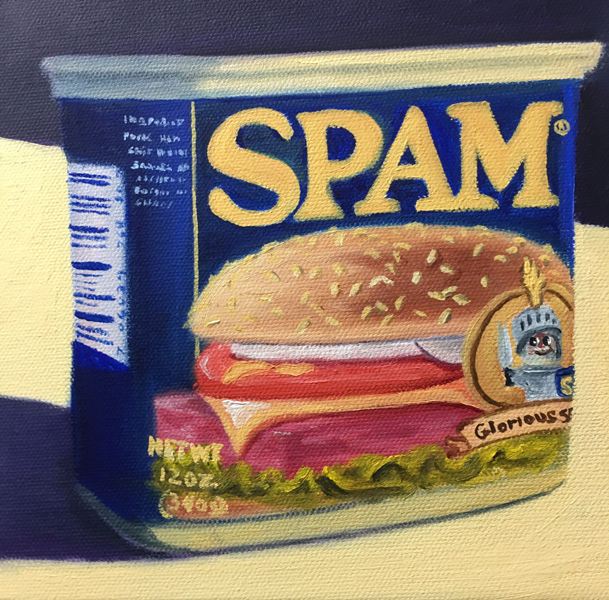 The Incredible Edible Spam 8x8 oil on canvas