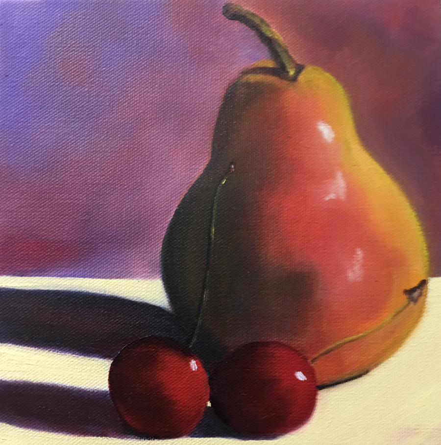 Pear of Cherries 8x8 oil on canvas