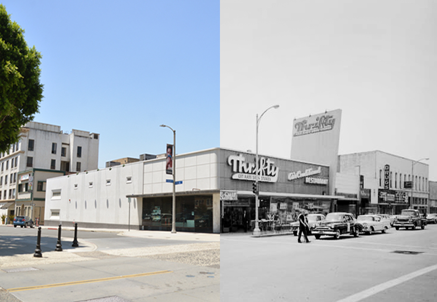 2017 Glass House Concert Hall on the left, 1962 Thrifty Cut Rate Drug Store on the right.