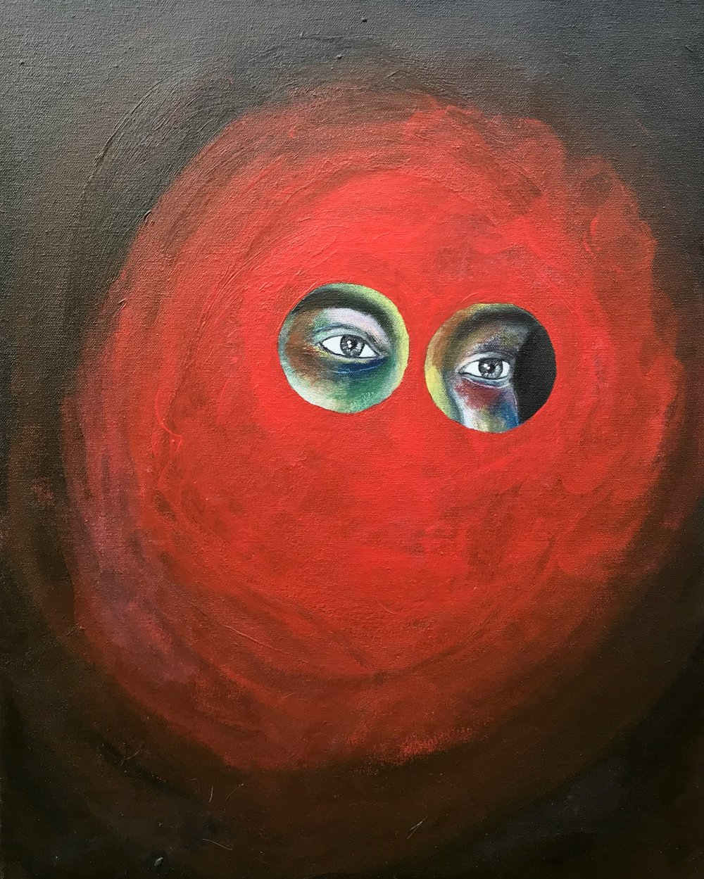 Oscar Leal, Mother's Eyes, Acrylic on canvas, 20 x 17,  57 Underground