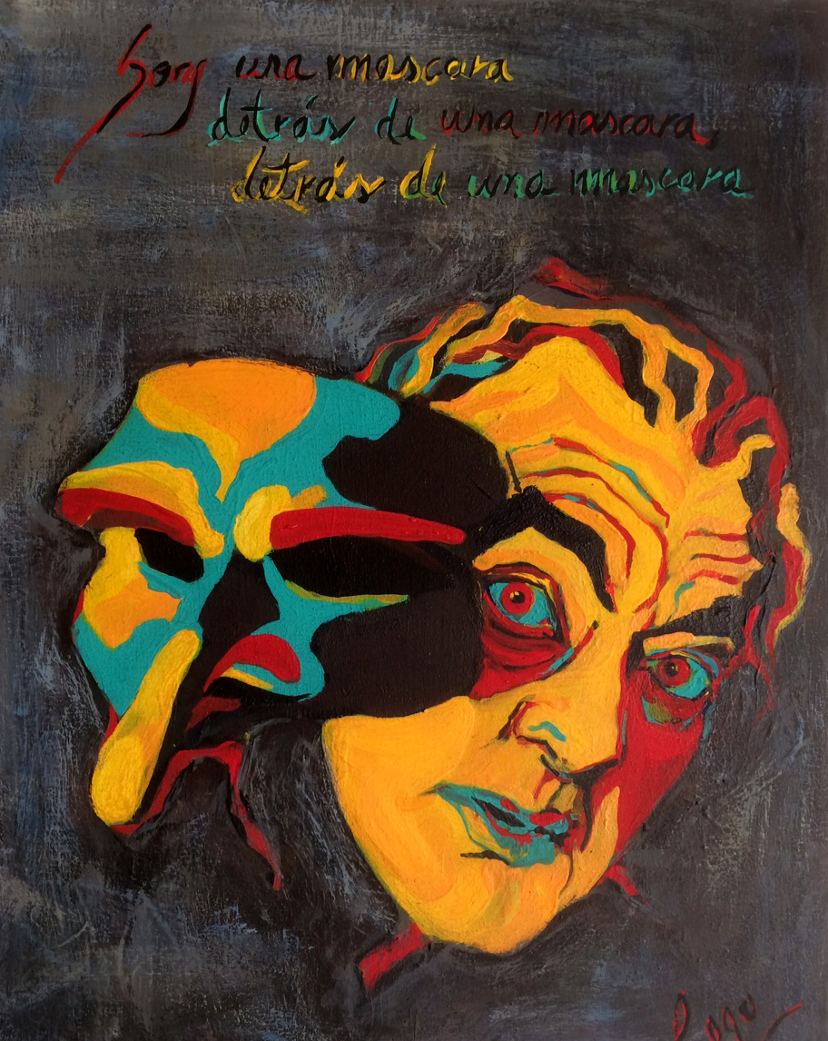 Claudia Cogo, A El Soy una Mascara, Acrylic on canvas, 17 x 12, LAM
