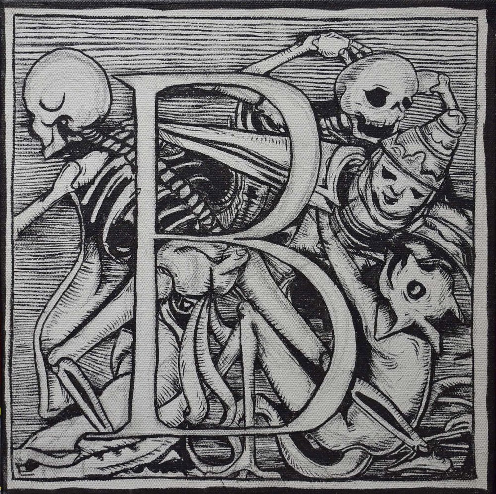 "Joe Ded, ""Dance of Death Alphabet"", 10 x 10"