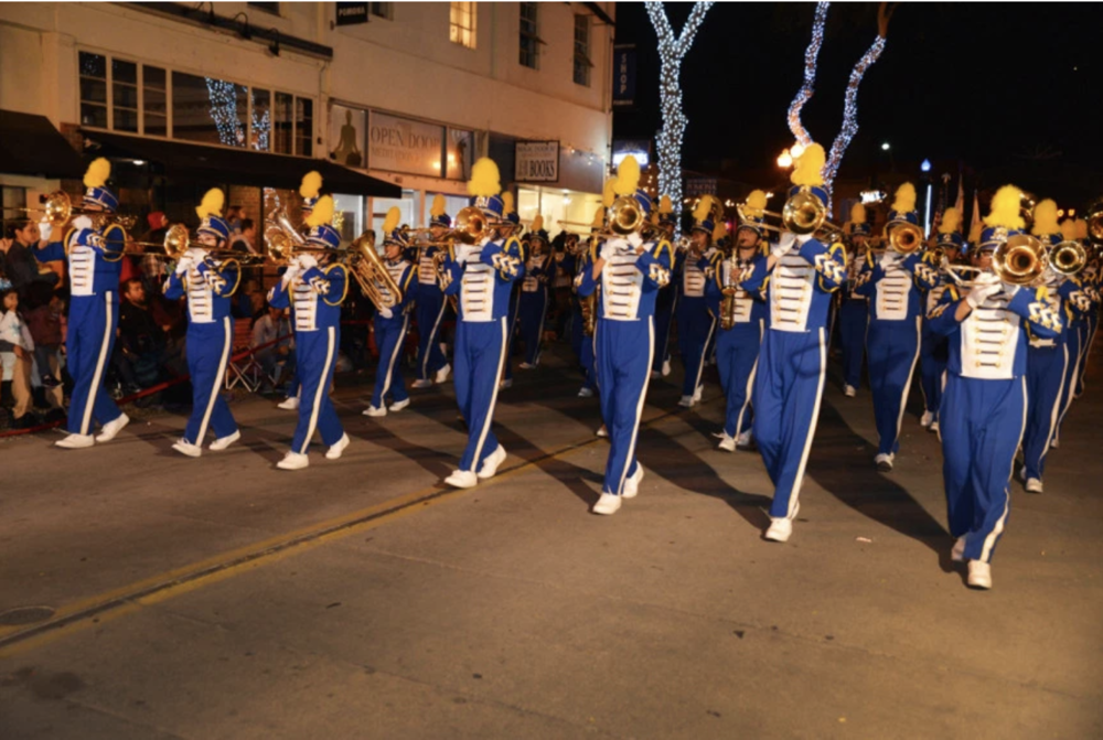 The Garey High School Marching Band entertains the crowd in the Pomona Christmas Parade, themed The Pomona Express, Saturday, Dec. 9, in downtown Pomona. (Courtesy photo)