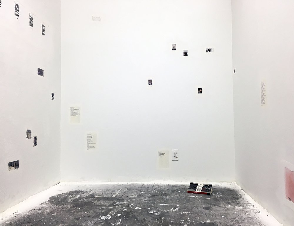 This is not a burial ( I am planting the history of my presence to grow in my absence ) , 2016  Polaroids, ticket stubs, post-it notes, receipts, index cards, photographs, envelopes, scanned 8mm film stills, birthday cards, letters, marker, wite-out, spackle, paint, live performance  Dimensions variable