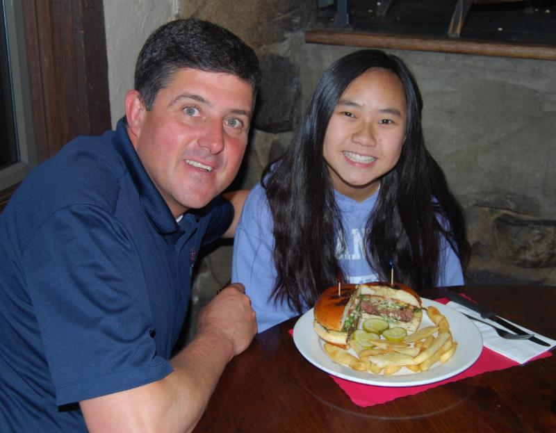 AB&G owner, Chris Kunisch, and Brookside 8th Grader, Nicole Tsigaras, AFEE's Burger of The Week Contest Winner of 2014.
