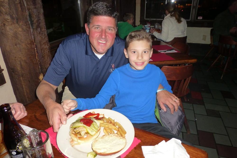 Chris Kunisch with Burger of the Week winner Brookside School 5th grader Robert Sasso with the   Sassinator   Burger