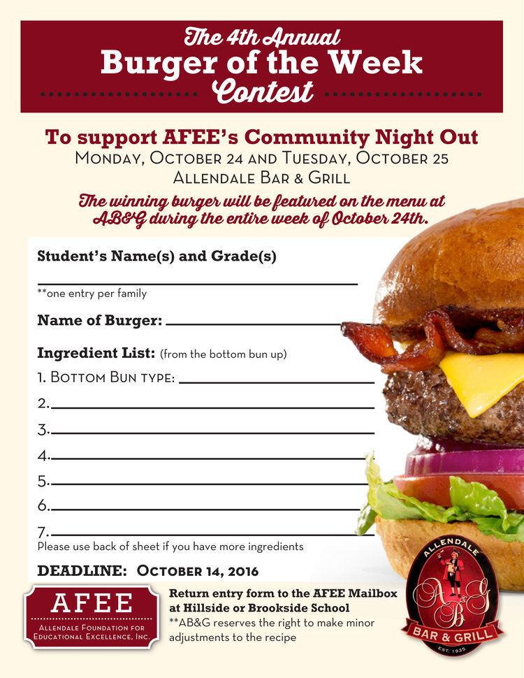 Burger Of The Week Contest!! Deadline: Oct 14Th!! — Afee