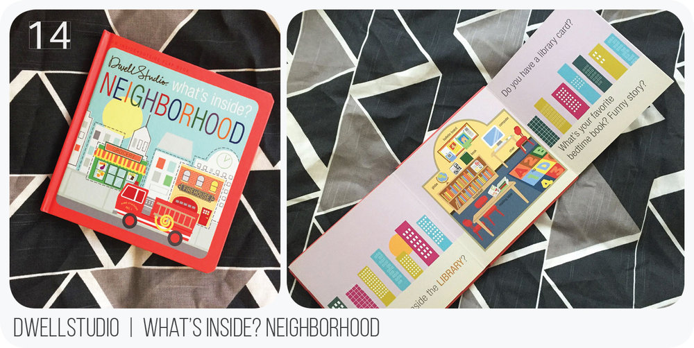 Aurelie really loves this book and it goes in our rotation fairly often. The pages fold out and it is very interactive and informative about typical places in a city. Dwellstudio can do no wrong in my eyes, anyway, but they definitely hit the mark with this one.