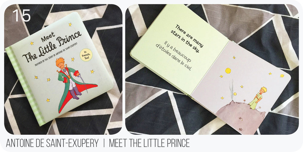 Because who does love le petit prince? Featuring Antoine de Saint-Exupery's whimsical illustrations and in two languages, this book is simple but sweet.