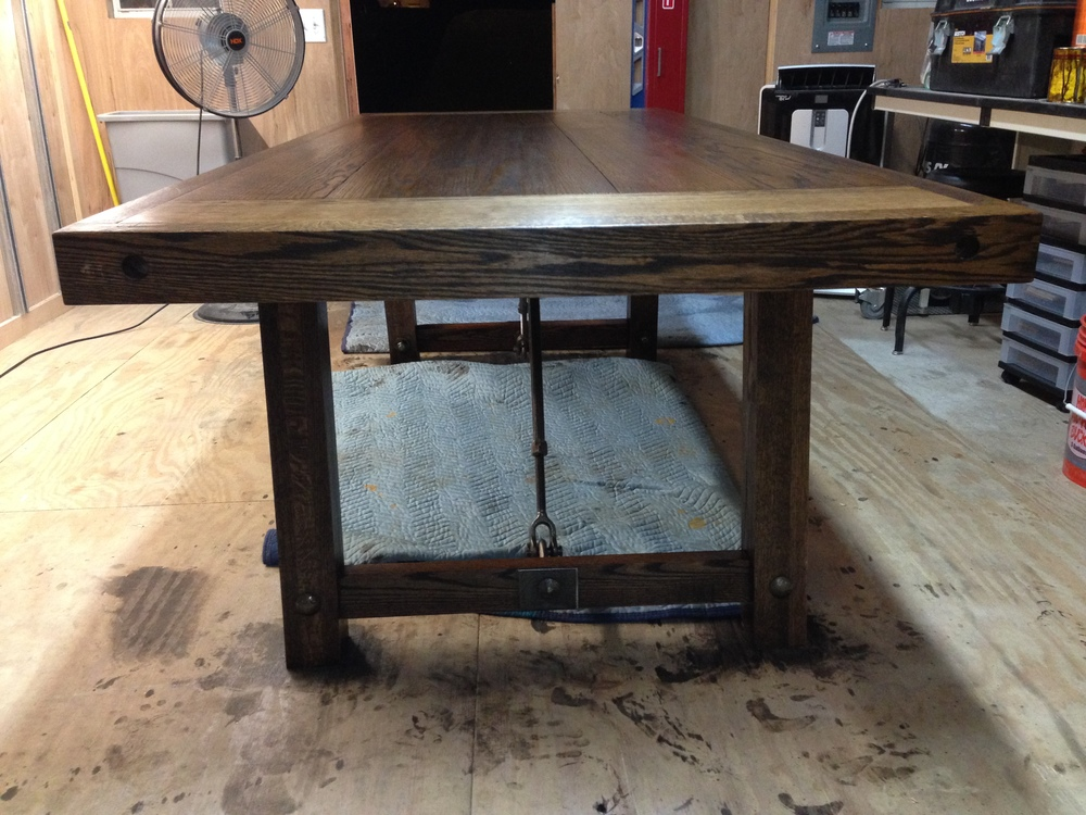 Industrial Farmhouse Table in construction stained in Walnut